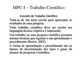MPC-I – Trabalho Científico