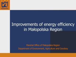 Improvements of energy efficiency in Małopolska Region