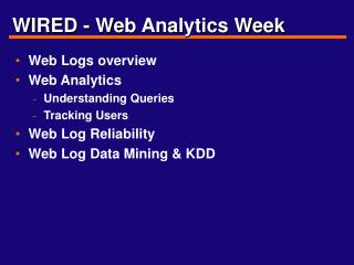 WIRED - Web Analytics Week