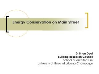 Energy Conservation on Main Street