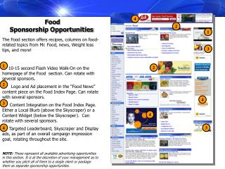 Food  Sponsorship Opportunities