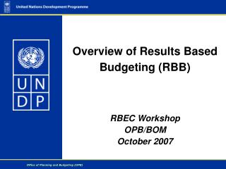 Overview of Results Based Budgeting (RBB)