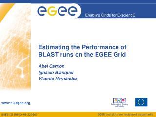 Estimating the Performance of BLAST runs on the EGEE Grid
