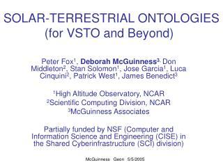 SOLAR-TERRESTRIAL ONTOLOGIES (for VSTO and Beyond)