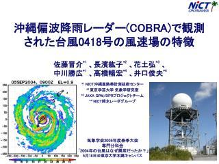 沖縄偏波降雨レーダー (COBRA) で観測 された台風 0418 号の風速場の特徴