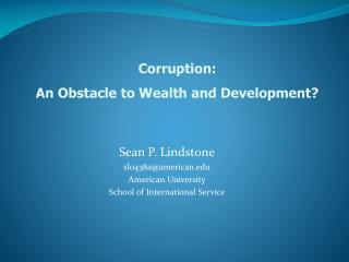 Sean P. Lindstone sl0438a@american American University School of International Service
