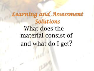 Learning and Assessment Solutions