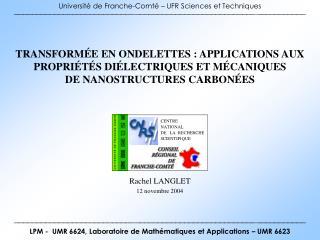 Université de Franche-Comté – UFR Sciences et Techniques