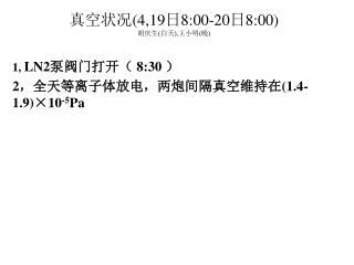 真空状况 (4,19 日 8:00-20 日 8:00) 胡庆生 ( 白天 ), 王小明 ( 晚 )