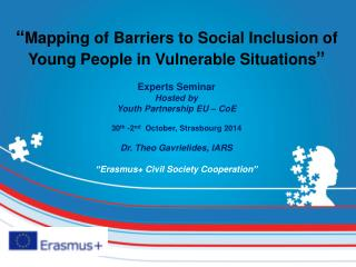 """"""" Mapping of Barriers to Social Inclusion of Young People in Vulnerable Situations """""""
