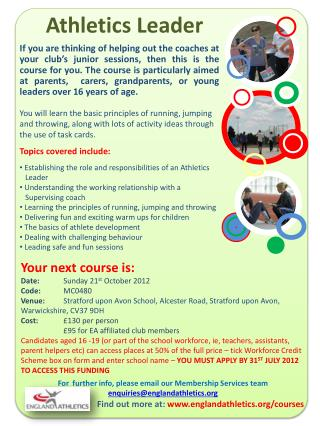 Find out more at: englandathletics/courses