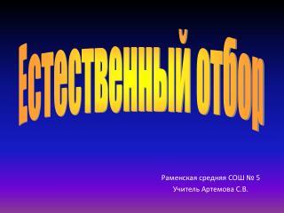 Раменская средняя СОШ № 5 Учитель Артемова С.В.