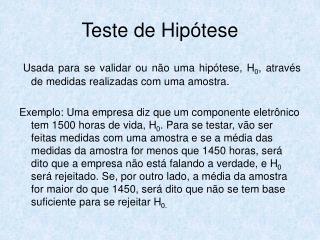 Teste de Hipótese
