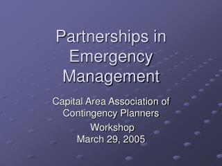 Partnerships in Emergency Management