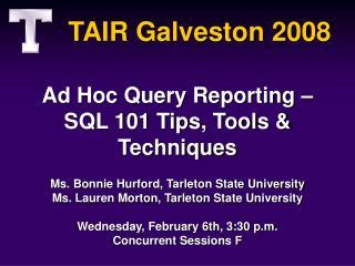 TAIR Galveston 2008
