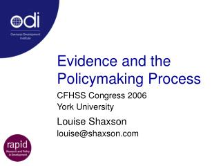 Evidence and the Policymaking Process