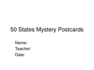 50 States Mystery Postcards