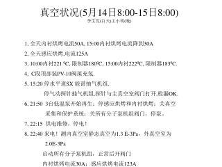 真空状况 (5 月 14 日 8:00-15 日 8:00) 李生发 ( 白天 ) 王小明 ( 晚 )
