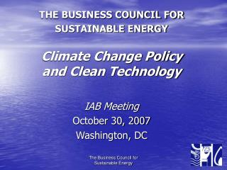 THE BUSINESS COUNCIL FOR SUSTAINABLE ENERGY Climate Change Policy and Clean Technology