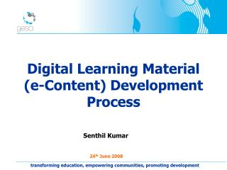 Digital Learning Material  (e-Content) Development Process