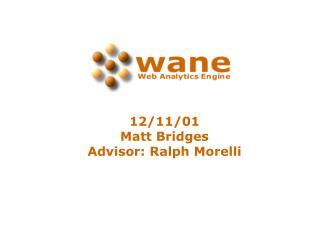 12/11/01 Matt Bridges Advisor: Ralph Morelli