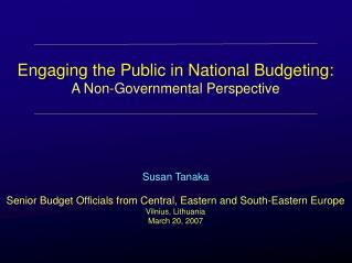Engaging the Public in National Budgeting: A Non-Governmental Perspective