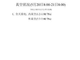 1, 全天放电 ; 内真空 (1.2-1.9E -5 Pa) 外真空 (7.7-7.9E -5 Pa)