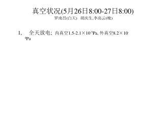 1,      全天放电 ;   内真空 1.5-2.1 ×10 -5 Pa,  外真空 8.2 ×10 -4 Pa