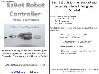 EzBot Robot Controller Manual   Instructions