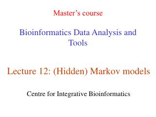 Master's course Bioinformatics Data Analysis and Tools