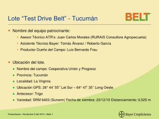 "Lote ""Test Drive Belt"" - Tucumán"