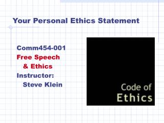 Your Personal Ethics Statement