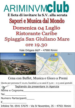 Domenica 04 Luglio Ristorante Caribe Spiaggia San Giuliano Mare ore 19.30