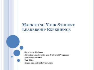 Marketing Your Student Leadership Experience