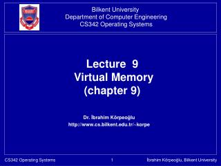 Lecture  9  Virtual Memory  (chapter 9)