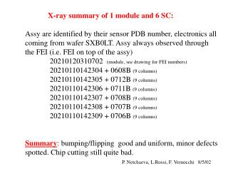 X-ray summary of 1 module and 6 SC: