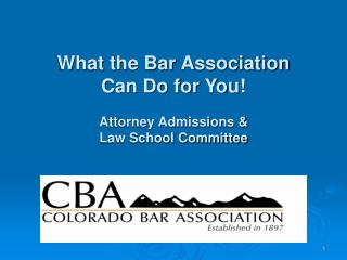 What the Bar Association Can Do for You! Attorney Admissions & Law School Committee
