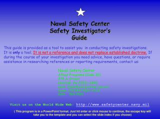 Naval Safety Center Safety Investigator's Guide