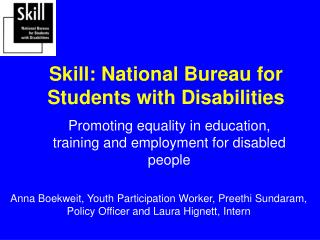 Skill: National Bureau for Students with Disabilities