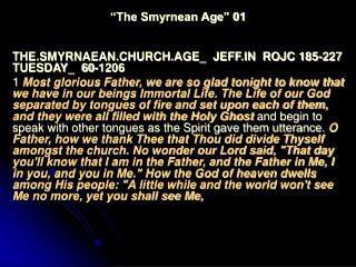 """""""The Smyrnean Age"""" 01"""