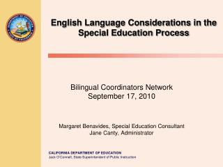 English Language Considerations in the Special Education Process