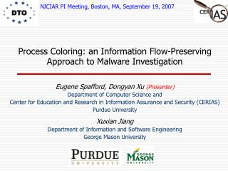 Process Coloring: an Information Flow-Preserving Approach to Malware Investigation