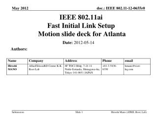IEEE 802.11ai Fast Initial Link Setup  Motion slide deck for Atlanta