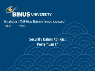 Security Dalam Aplikasi Pertemuan 17