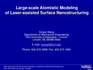 Large-scale Atomistic Modeling of Laser-assisted Surface Nanostructuring