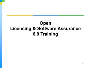 Open Licensing & Software Assurance 6.0 Training