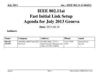 IEEE 802.11ai Fast Initial Link Setup Agenda for July 2013 Geneva