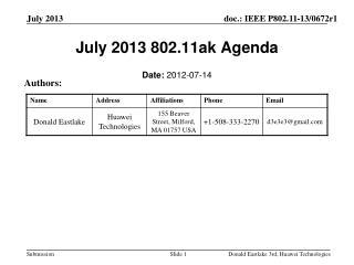 July 2013 802.11ak Agenda