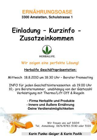 Einladung – Kurzinfo - Zusatzeinkommen