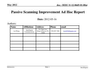 Passive Scanning Improvement Ad Hoc Report